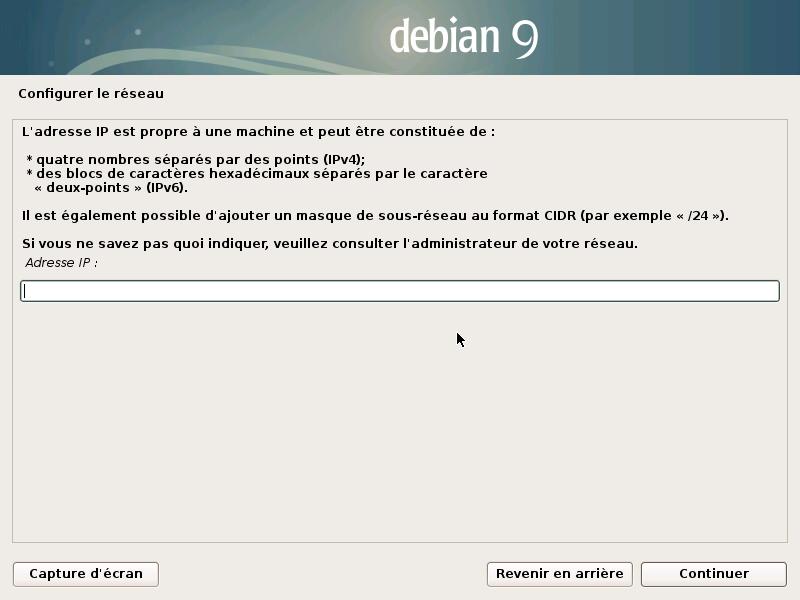 Configuration de l'adresse IP