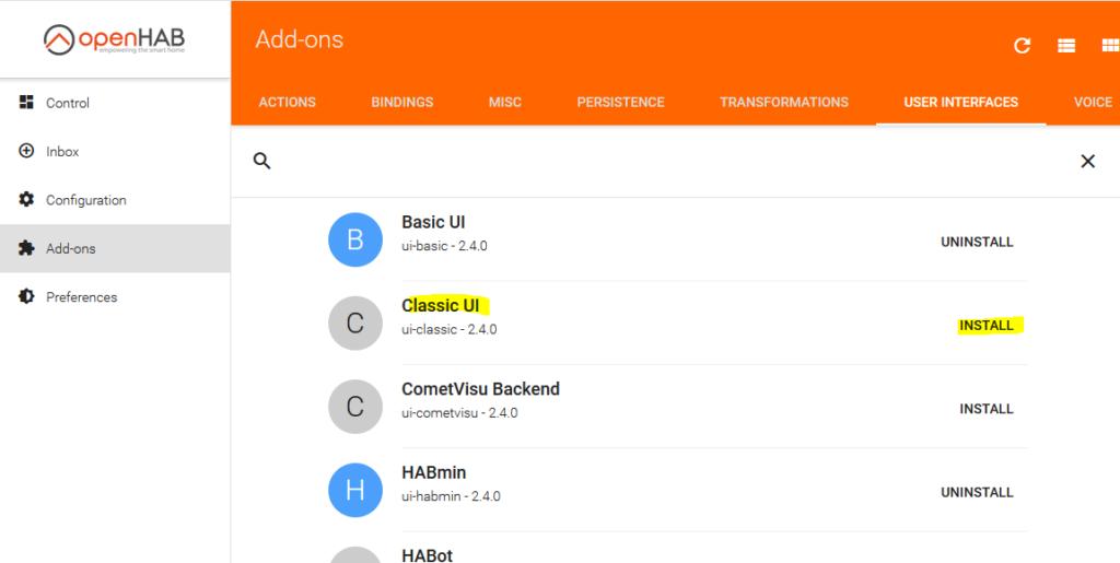 Installation Classic UI